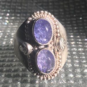 Sparkling Double Amethyst Sterling Silver 925 Ring
